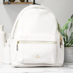 Coach Charlie Cream Leather Backpack Book Bag